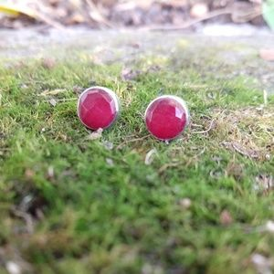 Faceted red rubu stud earrings sterling